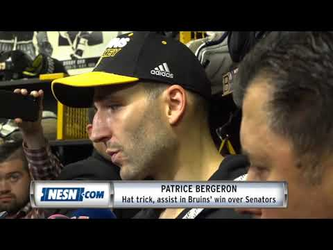 Video: Patrice Bergeron reacts to impressive hat trick in Bruins' home opener