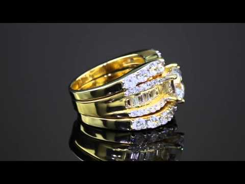 3 Piece 5.62 TCW Round Cubic Zirconia Bridal Ring Set In 18k Gold Over Sterling Silver