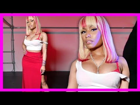 Nicki minaj pours curves in red body-hugging maxi skirt and crop top   CNN latest news