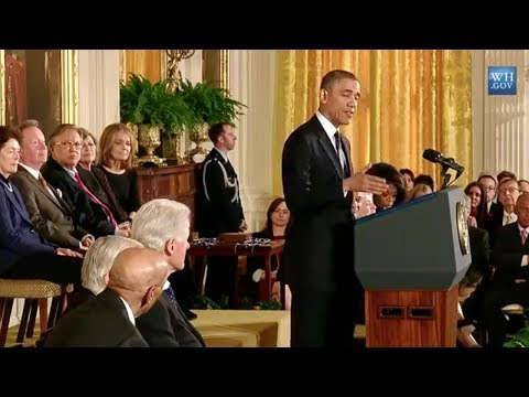 medal - President Barack Obama bestows the highest civilian honor in the United States - the Medal of Freedom - on 16 Americans: Bill Clinton, Oprah Winfrey, Ernie B...