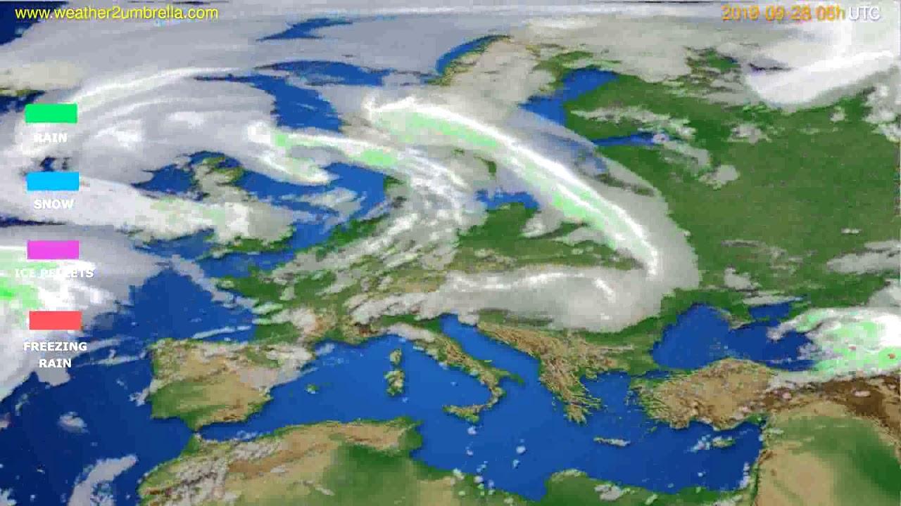 Precipitation forecast Europe // modelrun: 12h UTC 2019-09-25