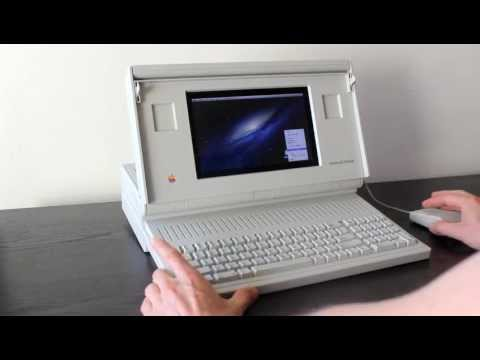 macintosh - This is my old Macintosh Portable that I converted to run Mac OSX, using the hardware from an old NB100 netbook I had sitting around. I took plenty of photos...