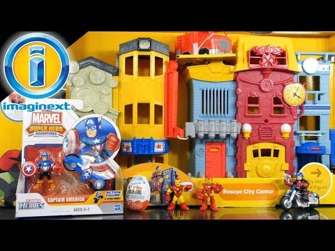 toys - 2014 Imaginext Rescue City Center Playset Unboxing Featuring Captain America And A Kinder Surprise Egg Opening! The Fisher Price Imaginext Rescue City Center...