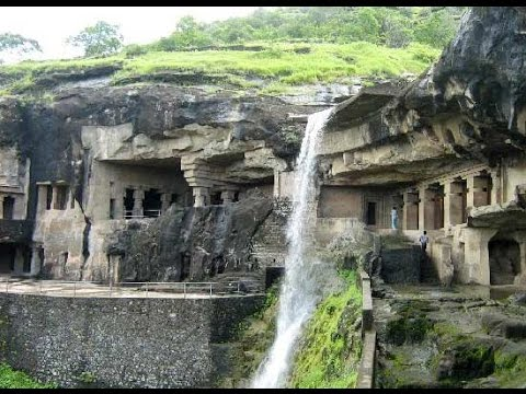 Continuous-rainfall-creates-waterfall-in-Ellora-caves-in-Aurangabad