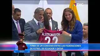 Lenín Moreno firma convenio entre las federaciones de Ecuador y Qatar