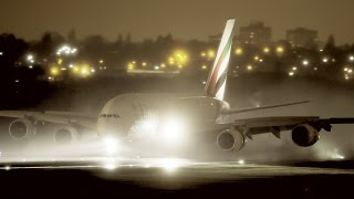 Some nice reverse thrust spray illuminated by artificial light in this after-dark performance by flight EK37 at BHX.