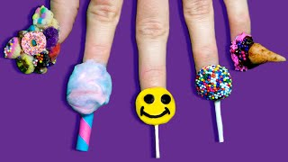 Full Set of Edible Nails Using ONLY Candy | Lollipop, Ice Cream, Cake Pop & Cali Donuts! by GlitterForever17