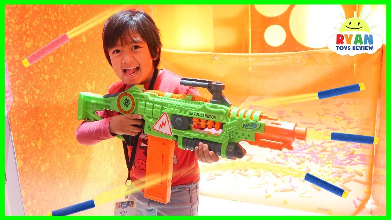 Ryan plays with Nerf toys, Monster Trucks, Beyblade and more!!! - YouTube