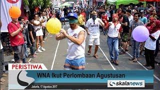 Skalanews.com - Sejumlah warga negara asing (WNA) turut serta memeriahkan aneka lomba dalam rangkaian merayakan Dirgahayu Republik Indonesia ke-72 yang digelar di Jalan Jaksa, Jakarta Pusat, Kamis (17 Agustus 2017).Beberapa perlombaan yang digelar antara lain yakni lomba makan kerupuk, pecah balon, memasukkan paku ke dalam botol, dan lain sebagainya. Selain itu, juga dipamerkan karya seni lukis dan mural di sepanjang Jalan Jaksa.[Risman Afrianda]Video: Deni HardimansyahVideo Editing: Danu NugrohoMusic: Motivational and Inspiring - buddy [ bensound.com ]
