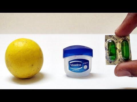 Apply VASELINE LEMON VITAMIN E CAPSULE Natural Face Hand Glowing Beauty Skin Care Life Hacks Instant