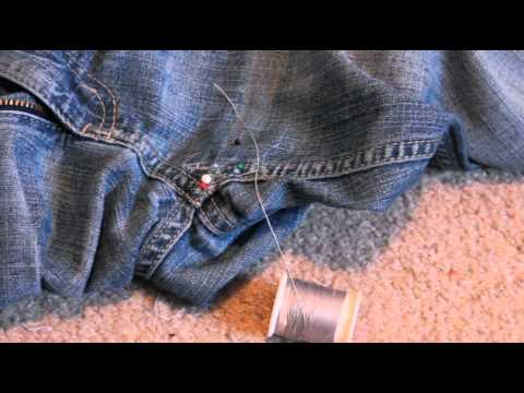 how to patch thighs of jeans
