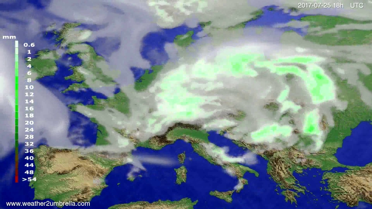 Precipitation forecast Europe 2017-07-22