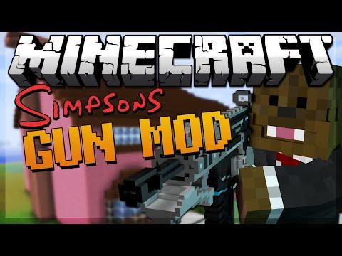 Minecraft SIMPSONS SPRINGFIELD Gun Mod 4 VS 4 Modded Minigame w/ JeromeASF & Friends!