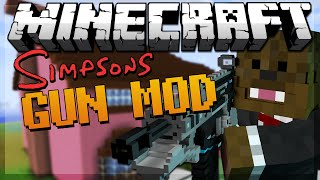 Minecraft SIMPSONS SPRINGFIELD Gun Mod 4 VS 4 Modded Minigame w/ JeromeASF&Friends!