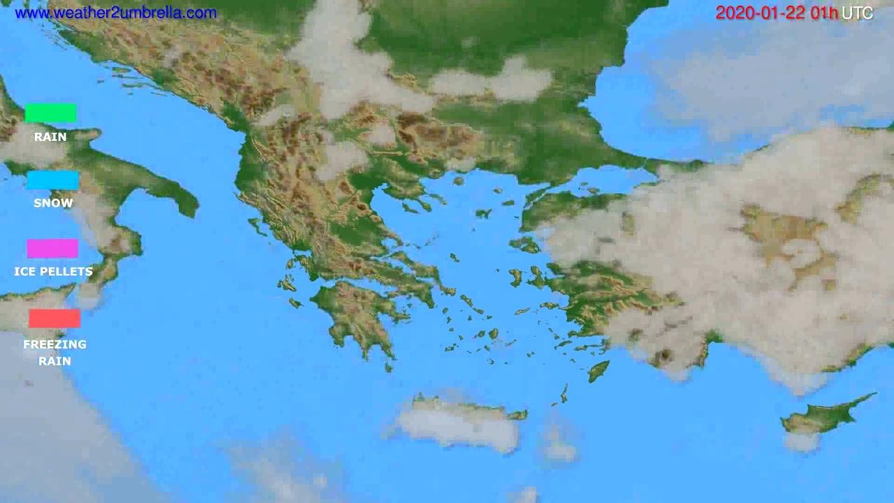 Precipitation forecast Greece // modelrun: 12h UTC 2020-01-20