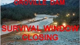 (C)2017 www.POTRBLOG.com3/5/17Oroville Lake levels are risingSpillway hillside at heightened risk of collapseAll water outflow has been stopped to ease collapse riskFeather river  being deepened to mitigate risk of hillside collapseRain is forecast, zero outflow cannot be maintained for ever, hence the survival window is closing.Any or all of the following situations we believe require IMMEDIATE risk mitigation actions1. Hillside landslide blocking Feather river2. Flooded Power House3. Any use of Spillways combined with High Lake levelsExpected actions from the CA_DWR included:1 Deepening the channel flowing around the debris dam2 Lining the debris dam to prevent erosion from Power House flow3 Stabilize eroded areas of the spillway hillsideThe limited ability to carry out the above 3 actions is what is closing the survival window.Source links at:http://pissinontheroses.blogspot.com/2017/03/oroville-update-survival-window-is.html