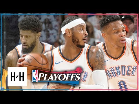 OKC Thunder BIG 3 Full Game 2 Highlights vs Jazz 2018 Playoffs - Westbrook, Paul George & Carmelo (видео)