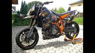 3. KTM 950 SM Supermoto Lc8 Full Rpm, Exhaust Flames Fire LeoVince
