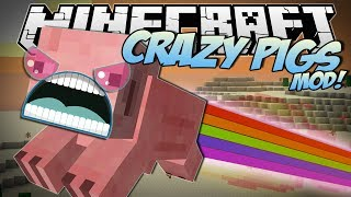 Minecraft | CRAZY PIGS MOD! (Rainbow Pigs, Superpowers, Trail Mix&More!) | Mod Showcase