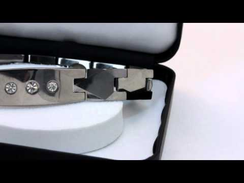 Quantum Bracelet with CZ Diamond - Silver Belt Design - Women