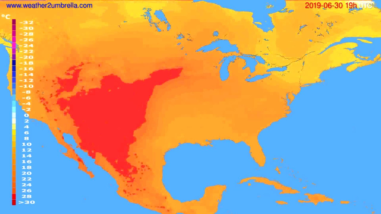 Temperature forecast USA & Canada // modelrun: 12h UTC 2019-06-27
