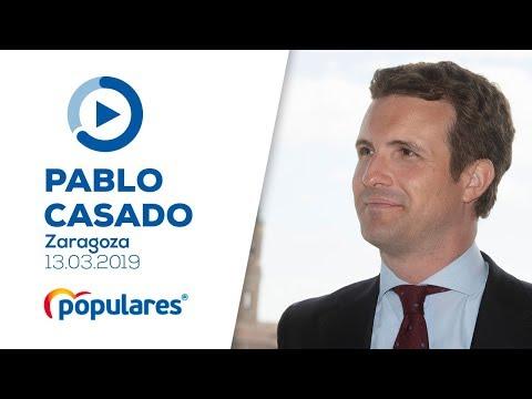 Pablo Casado interviene en un acto con afiliados del PP de Zaragoza