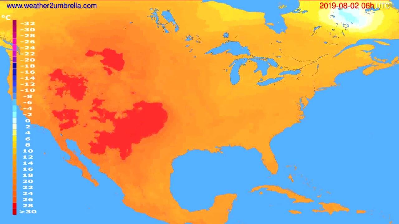 Temperature forecast USA & Canada // modelrun: 12h UTC 2019-07-30