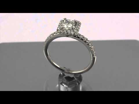 14K White Gold Diamond Halo Solitaire Ring, size 6, 3.3gr (new princess) #391