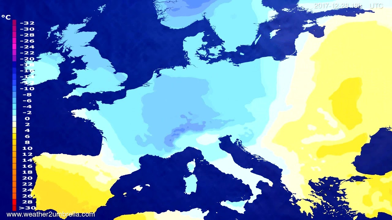 Temperature forecast Europe 2017-12-25
