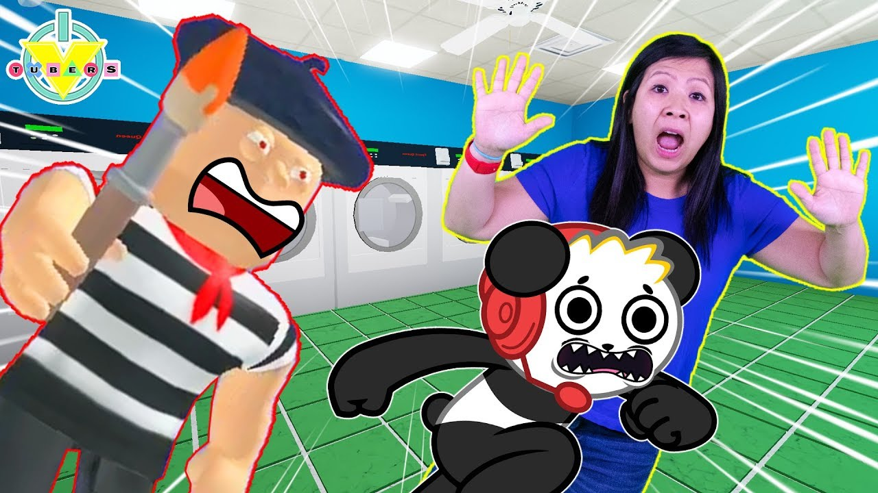 Ryan's Mommy ESCAPES ART SHOP & LAUNDROMAT IN ROBLOX Let's Play with Combo Panda - YouTube