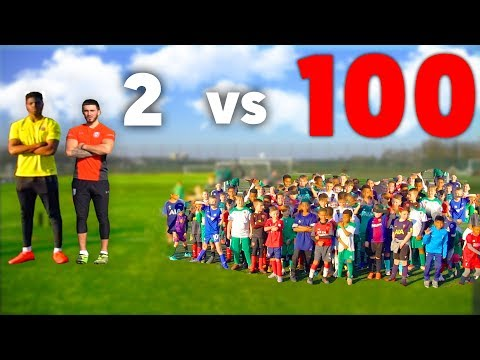100 KIDS Vs 2 PRO Footballers In A Soccer Match