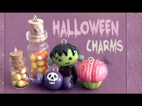 Charms - Polymer clay charms are great for Halloween. In this DIY, learn how to make a creepy brain cupcake, a cute Frankenstein, some skull candy, & even candy corn ...