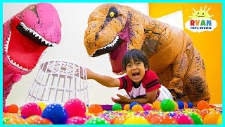 Giant Hungry Hungry Hippo Challenge In Real Life with Dinosaur!!!