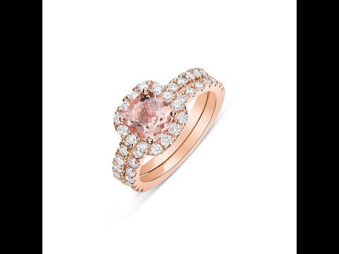 6mm Cushion Cut Morganite Wedding Set