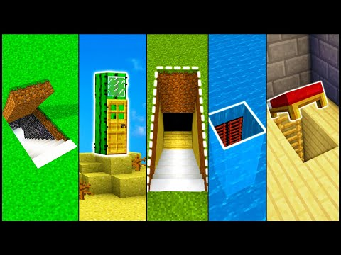 5 Minecraft Secret Base Entrances! - Build Hacks And Ideas (Easy Tutorial)