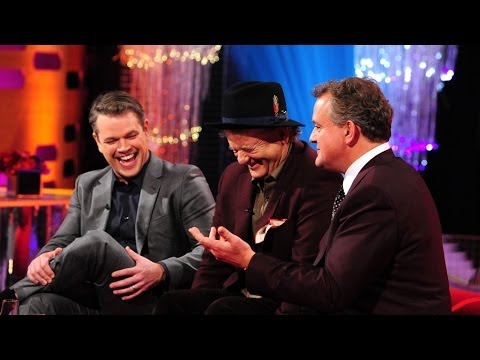 Matt Damon and Bill Murray are sent into a fit of laughter at a picture of Hugh Bonneville