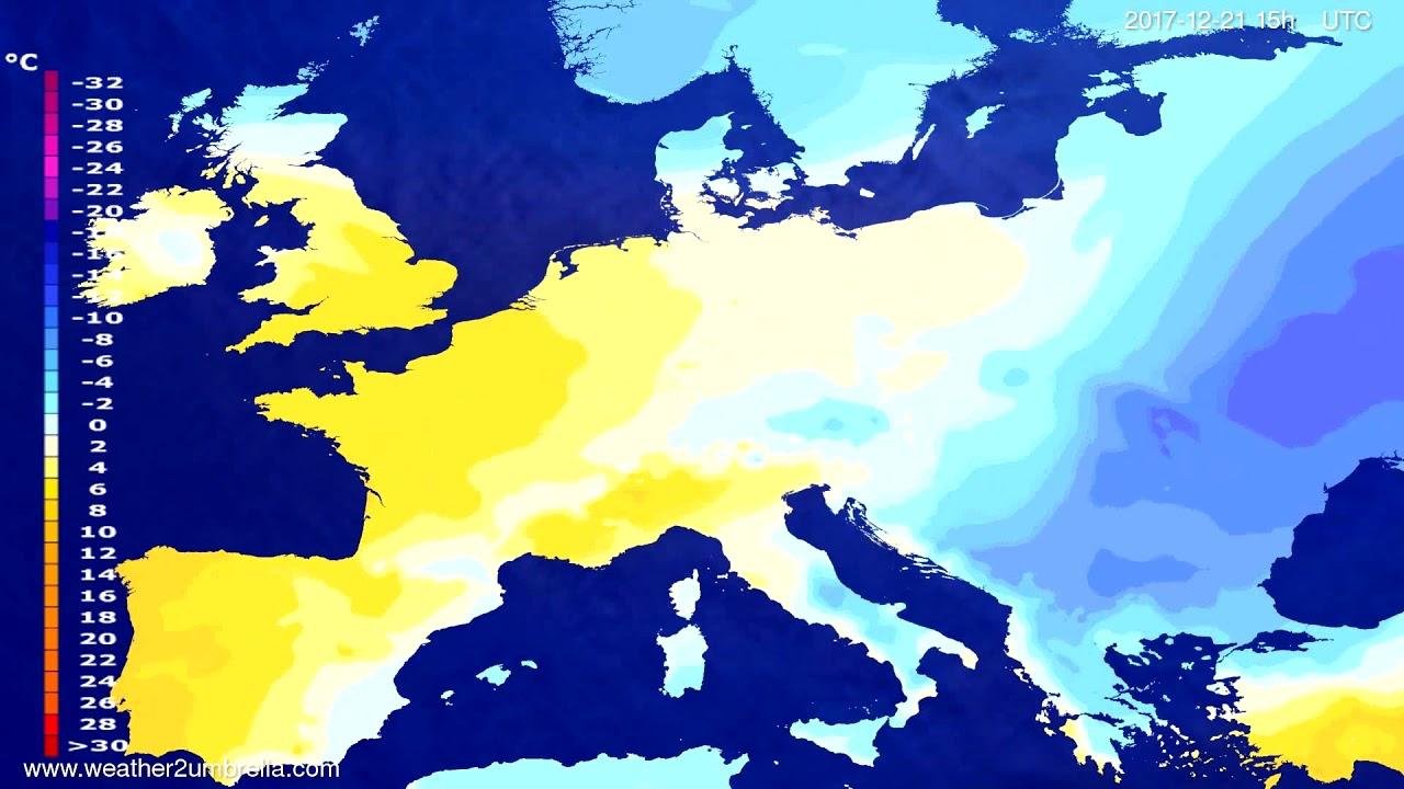 Temperature forecast Europe 2017-12-18