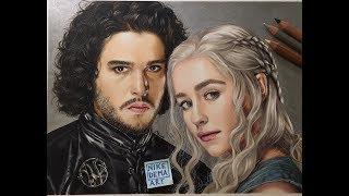 GAME OF THRONES speed portrait of Jon Snow (Kit Harington) and Daenerys Targaryen (Emilia Clarke) made with Caran...