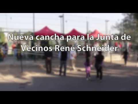 El Alcalde Carlos Cuadrado Prats encabezó la inauguración de la cancha de la Junta de Vecinos René Schneider, proyecto que contempló mejoramiento de la cancha con pasto sintético, malla de cierre, e iluminación, entre otros.