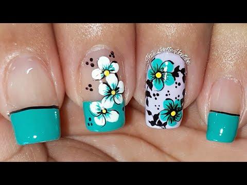 Uñas decoradas - Decoración de uñas flores/Diseño de uñas en tono turqueza/diseño de uñas para principiante muy fácil