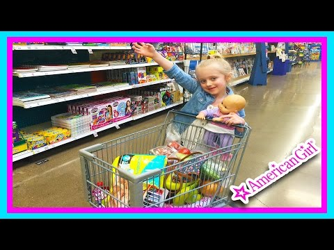 American Girl Bitty Baby Doll Grocery Shopping Trip w/ Kid Size Shopping Cart