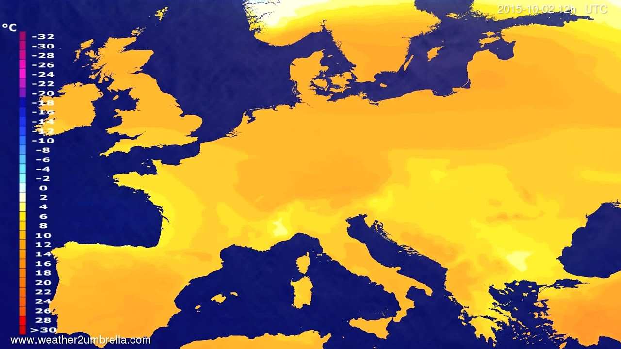 Temperature forecast Europe 2015-09-30