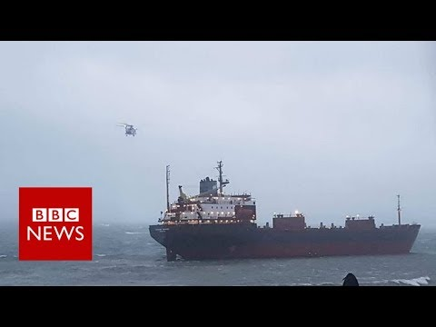 Russian cargo ship runs aground in Cornwall - BBC News