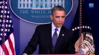 President Obama delivers a statement and answers questions from the press on the government shutdown and the upcoming debt ceiling increase in the Brady Press Briefing Room at the White House.