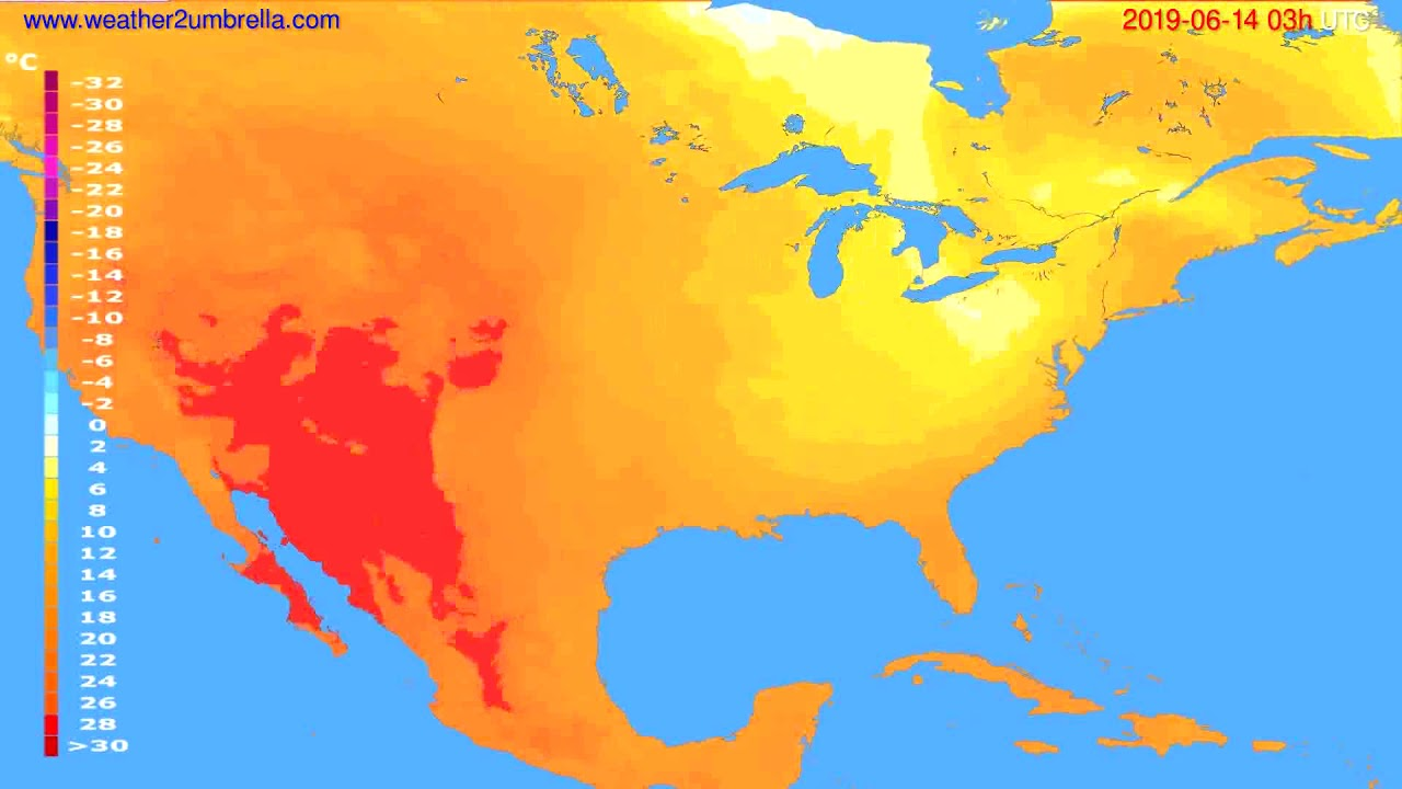 Temperature forecast USA & Canada // modelrun: 00h UTC 2019-06-11