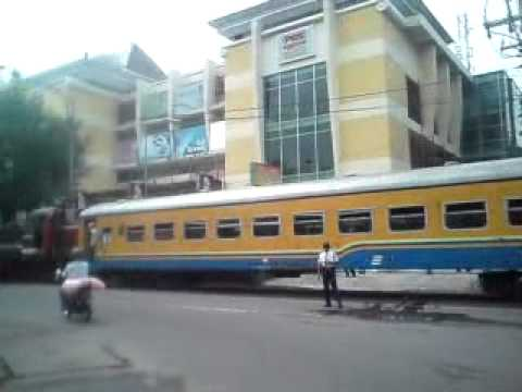 Kereta api feder train on the road slamet riyadi solo city