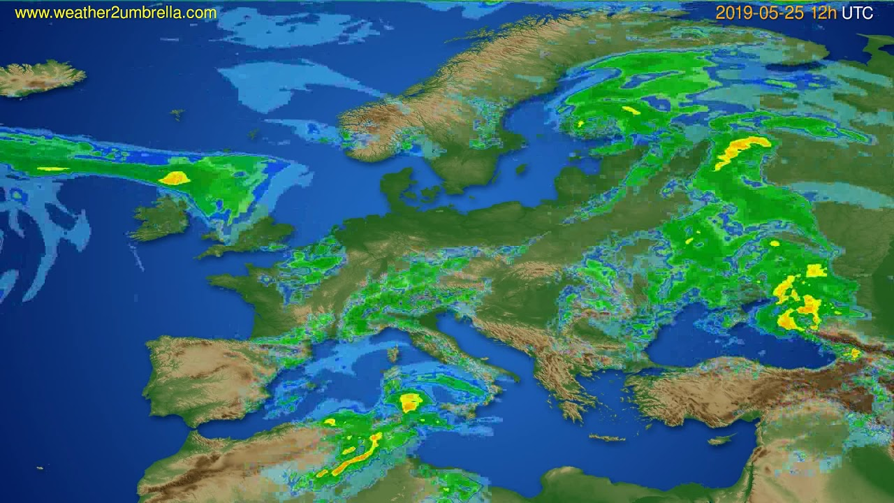 Radar forecast Europe // modelrun: 00h UTC 2019-05-25