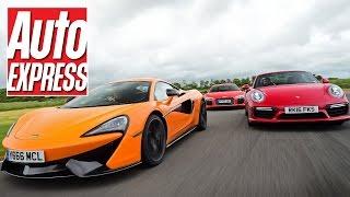 McLaren 570S vs Audi R8 V10 Plus vs Porsche 911 Turbo S: supercar track battle! by Auto Express