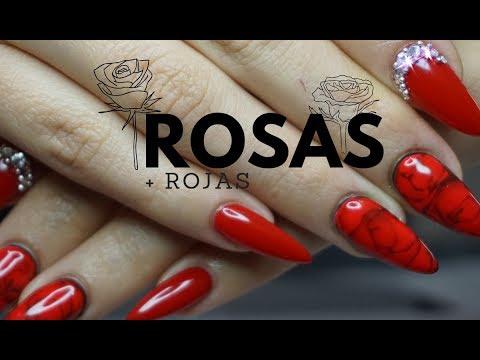 Diseños de uñas - ROSAS ROJAS CON GEL/ DISEÑO DE UÑAS