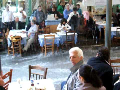 Bairaktaris - An autumnal shower at my 'local' taverna.